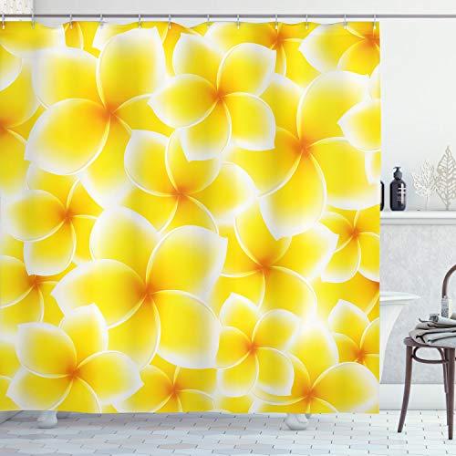 ABAKUHAUS Gelb Duschvorhang, Asiatische Blüten, Trendiger Druck Stoff mit 12 Ringen Farbfest Bakterie & Wasser Abweichent, 175 x 200 cm, Gelb & Weiß