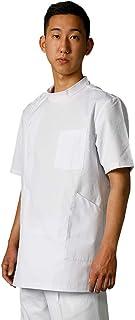 白衣netメンズ用男性ドクター医師 横掛け半袖ケーシー ホワイト