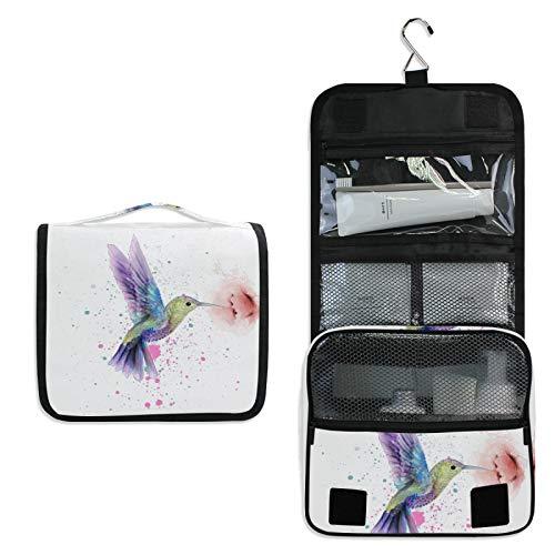 Hupery Toiletry Bag Watercolor Hummingbird Hanging Travel Toiletry Bags Cosmetic Pouch Bag Makeup Bags Organizer Wash Bag For Women Men Girls