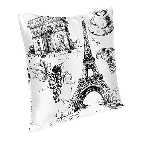 Perfecone Home Improvement - Funda de almohada de algodón con diseño de Té de la tarde con la Torre Eiffel y el Arco Triunfal y funda de almohada para coche, 1 paquete de 45 x 45 cm