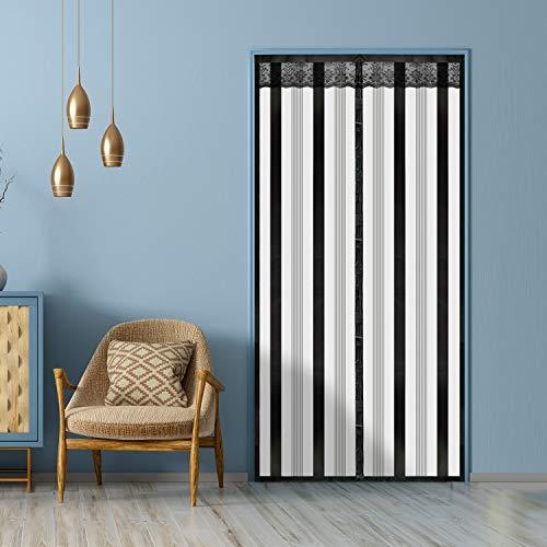 Insulated Door Curtain-Magnetic Thermal Door Cover, 36 X 82 Inch EVA Self-Closing Privacy Door Screen for Doorways, Terrace, Kitchen, Bedroom,Air-Conditioned Room, ( Black Stripes Style)