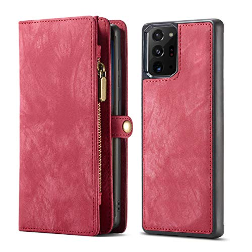 KelaSip Cover Galaxy Note 20 Ultra, Custodia Portafoglio Galaxy Note 20 Ultra, Custodia in Pelle Scamosciato, [Funzione di Supporto] [2 in 1] [11 Slot per Schede] per Galaxy Note 20 Ultra - Rosso