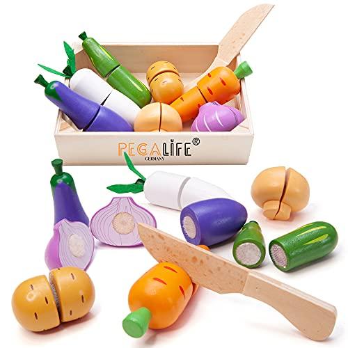 PEGALIFE Holz Lebensmittel Kinderküche, Zubehör für die Kinderküche / Spielküche: buntes Gemüse aus Holz, zerlegbar, mit Klett-Verbindungen, Spielzeug ab 3 Jahre