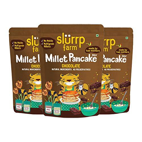 Slurrp Farm Instant Hirse Schokoladenpfannkuchenmischung, natürlich, gesund, vegan, glutenfrei, niedriger GI, fettarm, diätetisch, 5 Unzen (3er Pack)