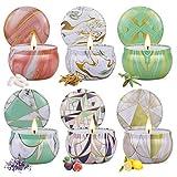 Juegos Velas Aromáticas de Regalo, 6 Piezas Cera de Soja Velas Perfumadas, en 6 latas geométricas, Aromaterapia Decoración para Mujer, Relajación Fiesta Boda Baño Yoga Cumpleaños Navidad
