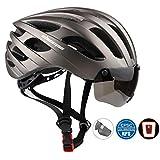 Shinmaxバイクヘルメット 自転車ヘルメット CPSC認定USB 充電式LED安全ライト付きのヘルメット ロードバイクヘルメット 超軽量 高剛性 調整可能 快適 男女兼用55-61cm 取り外し可能な磁気シールドサンバイザー付き サイクリング/山地/道路に最適のヘルメット