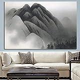 WSHIYI Imprimir Lienzo Pintura montaña Abstracta caligrafía China Tradicional sobre Lienzo Imagen de Pared para Sala de Estar sofá decoración para el hogar-50x75 cm sin Marco