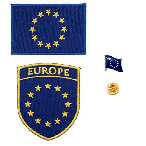 A-ONE Paquete de 3 piezas - Parche de escudo europeo + parche bordado de la Unión Europea + pin de solapa de la bandera de la UE, accesorios para apliques de la bandera del mundo, insignia de la UE
