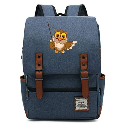 MMZ Mochila con Insignia de Hedwig Estampada para niños Mochila Escolar con búho Hogwarts Mochila de Viaje Ligera M Azul