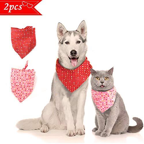 KK KEWLKIT Valentinstag Hundehalstuch – waschbares Halstuch mit Herz-Aufdruck, doppeltes wendbares Halstuch, verstellbar, wendbar, waschbar und verstellbar für Hunde und Katzen, Rot + Pink
