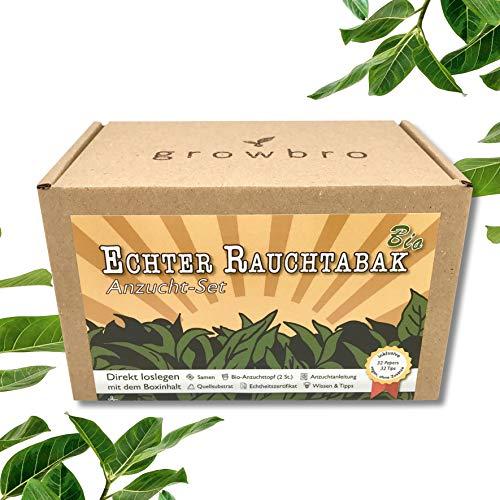 growbro Tabak BRO Anzuchtset, ZÜCHTE Deine EIGENE Tabak- Pflanze inkl. Samen, Tips, Papers, UVM. - Echter Rauchtabak, personalisierte Geschenke für Männer & Frauen