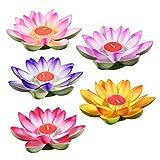 Velas de flor de loto LED flotante de Villase, 5 unidades, para pecera, estanque, piscina, jardín, festival, festival, color mezclado