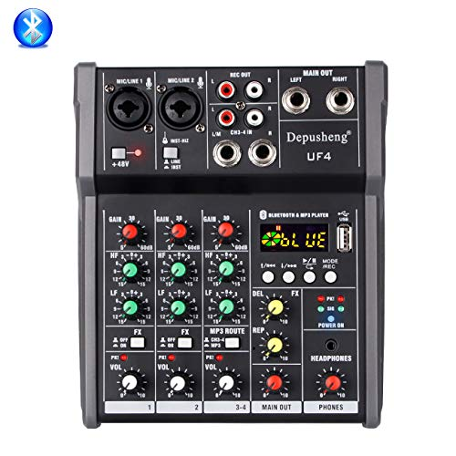 Depusheng UF4 4-Kanal Bluetooth Digital Mikrofon Sound Mixer mit USB DJ Sound Mischpult 48V Verstärker für Karaoke KTV Match Party