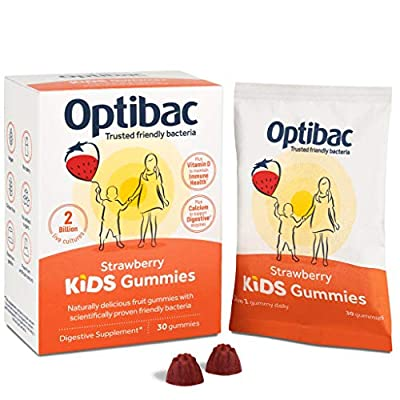 Optibac Kids Gummies | Good Bacteria | Calcium & Vitamin D for Digestive & Immune Support | Scientifically Proven | 2 Billion | Pack of 30