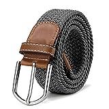 DonDon Cinturón trenzado extensible y elástico para hombres y mujeres de 100 cm a 130 cm de longitud gris