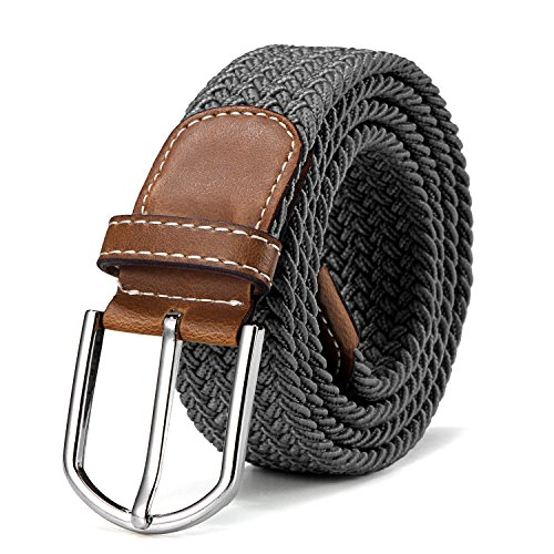 Stoffgürtel Stretchgürtel geflochten und elastisch Gürtel für Damen und Herren Länge 100 cm bis 130 cm grau