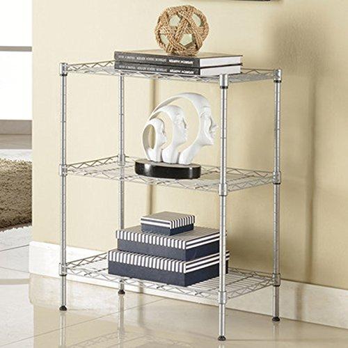 Yxsd Estante de cocina simple europeo multi-estante tipo piso estante estante marco de almacenamiento de metal tres estantes (color: plata)