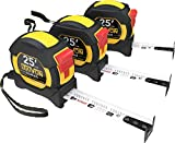 LEXIVON [3-Pack] 25Ft/7.5m DuaLock Tape Measure | 1-Inch Wide Blade with Nylon Coating, Matte Finish White & Yellow Dual Sided Rule Print | Ft/Inch/Fractions/Metric (LX-206X3)
