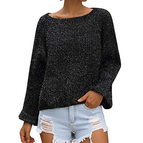 YUYOUG Femmes Chandail Hiver Tricoté Hollow Out Manches Longues O Cou Blouse Top Knit Pullover Pull Femme Chic (Black, EU 40)
