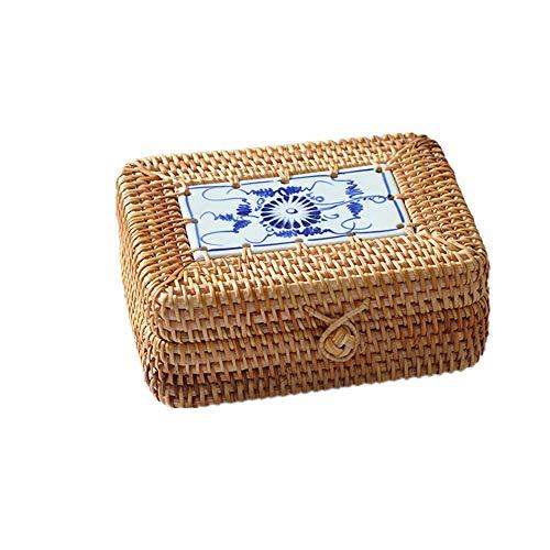 TnSok Multifunktions Kleine Speicher-Körbe Rattan Süßigkeiten Korb for Badezimmer Wohnzimmer Küche Dekoration Sundries Sorting Box (Color : Natural, Size : 16x12x6cm)