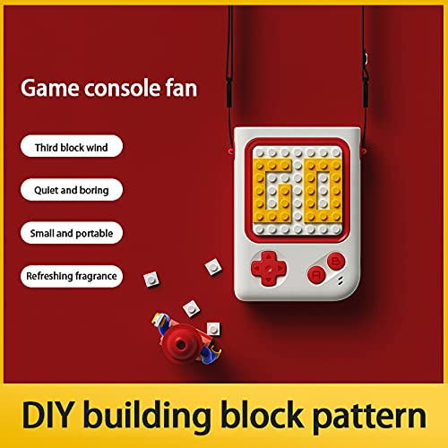 Creativo bloque de construcción máquina de juego pequeño ventilador portátil USB carga Mini pareja regalo (blanco)