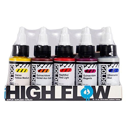 Golden : Acrylic Paint : High Flow Assorted Set (10 X 30ml :)