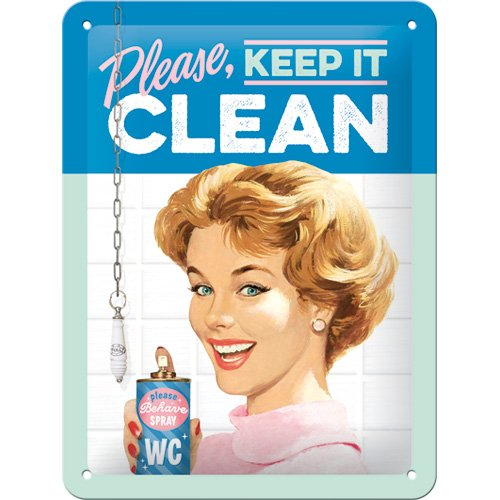 Nostalgic-Art 26211, Say 50's Keep it Clean, Blechschild 15x20 cm, Metall, Vintage-Design zur Dekoration, 15 x 20 x 0,2...