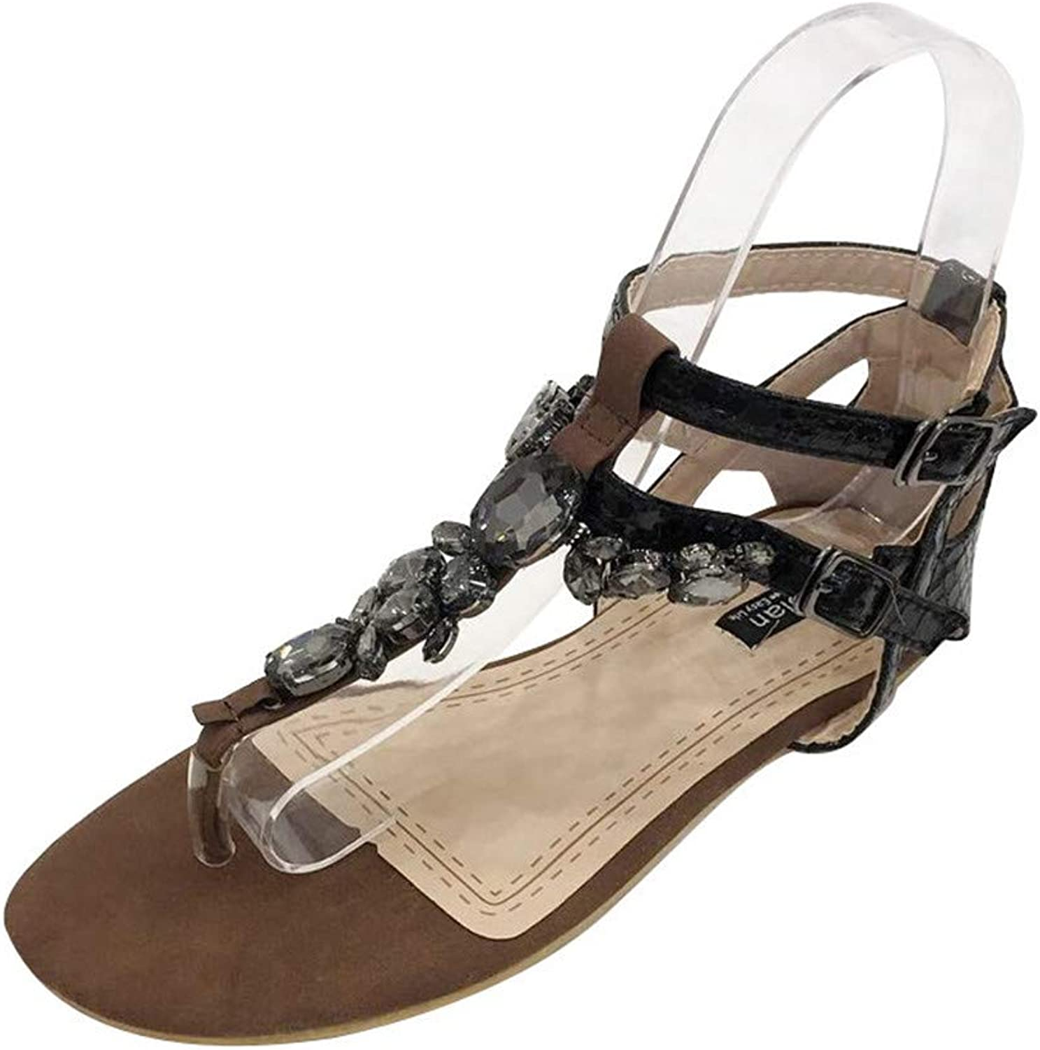 Meimeioo Womens Strappy Roman Gladiator Sandals Flats Thongs shoes Glitter Flat Sandals