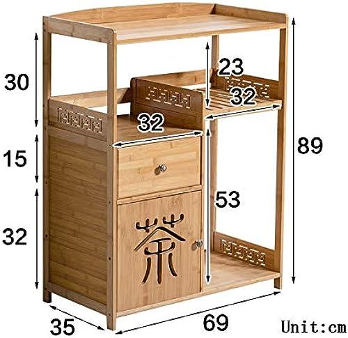 Shelves Regale ZR Tee-Ablage aus Bambus Massivholz Trinkregal Eimer Aufbewahrungsregal Teetisch Teetisch – Wanddekoration B