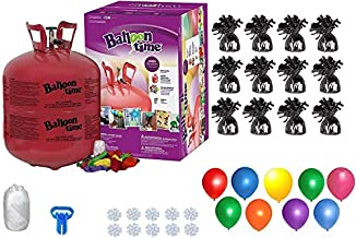 Helium Tank with 50 Balloons and White Ribbon + 12 Black Balloon Weights + Plus Balloon Tying Tool and Flower Clips