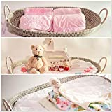 Eco-logic Baby Changing Basket with Pad and Liner| Premium Quality| Natural Seagrass| 31.5 x 15.75 x 3.94 inches