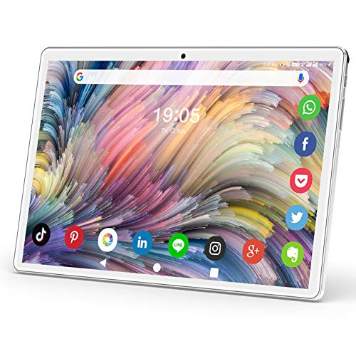 10 Inch Tablet, Android Tablet with 2GB+32GB, Dual Sim Card 5MP Camera, WiFi, Bluetooth, GPS, Quad Core, HD/IPS Touchscreen, Support 3G Phone Call, Google Certified Tablet (Silver)