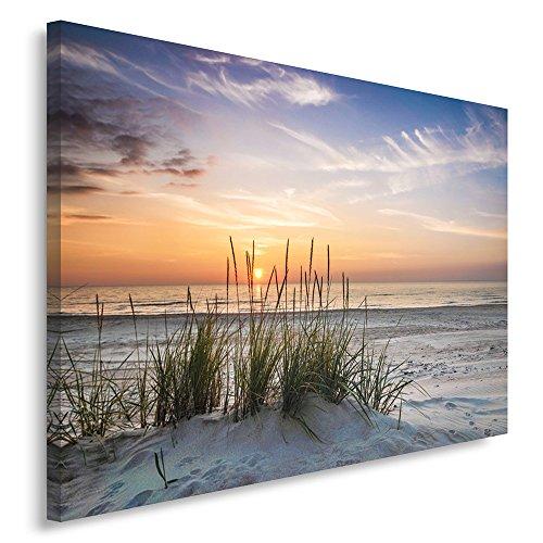Feeby Frames, Leinwandbild, Bilder, Wand Bild, Wandbilder, Kunstdruck 70x100cm, Landschaft, Grass, Strand, Wasser, Meer, Sand, Himmel