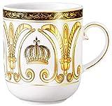 Harald Glööckler Pompöös Becher Krone Weiß/Gold 9,8 x 7,4 x H. 8,9 cm - Runde Porzellan Tasse mit Henkel - Designed by