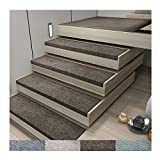Hello Alfombra de casa, Alfombras para escaleras,15 Set of Stair Pads Step Carpet Non Slip Adhesive Rug/Mat for Stair Tread,Protection Durable Non-Slip,75 * 26 * 3cm,Alfombra Antideslizante