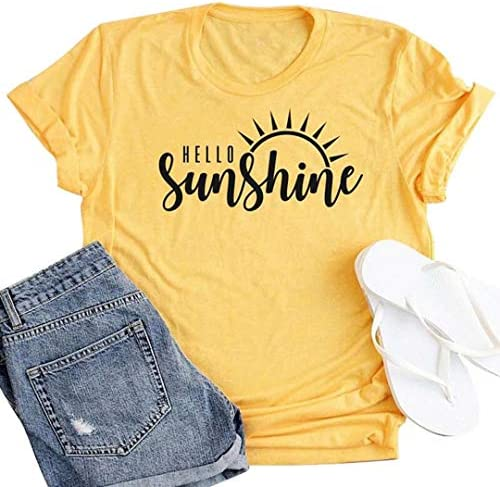 Hello Sunshine Tee Shirt Women Letters Print T Shirt Cute Graphic Shirts Summer Casual Short product image
