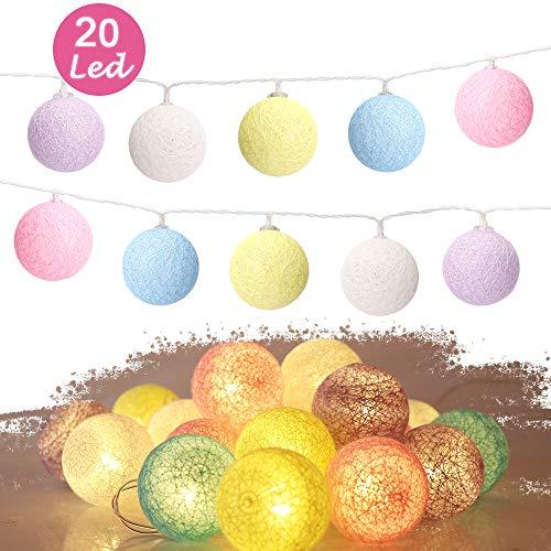 Cotton Ball Lights,Sporgo Cotton Ball Lichterkette 3M 20 LED Lichterkette Bälle Mit USB Anschluss,Lichterkette Bälle Baumwolle Süßigkeitfarbe (4cm)