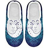 Linomo Sun Moon Galaxy Pantuflas para mujer, para casa, para interiores, zapatos de casa, zapatos de dormitorio, multicolor, 47/48 EU