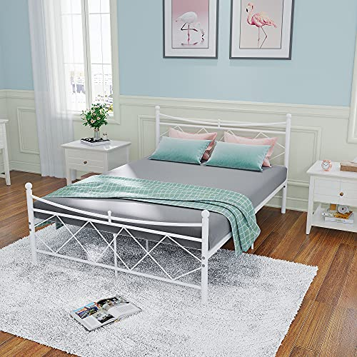 Home Panana Decor 4FT/4FT6 DOUBLE Metal Bed Frame Bedbase Curved Headboard Design (White, 4FT)