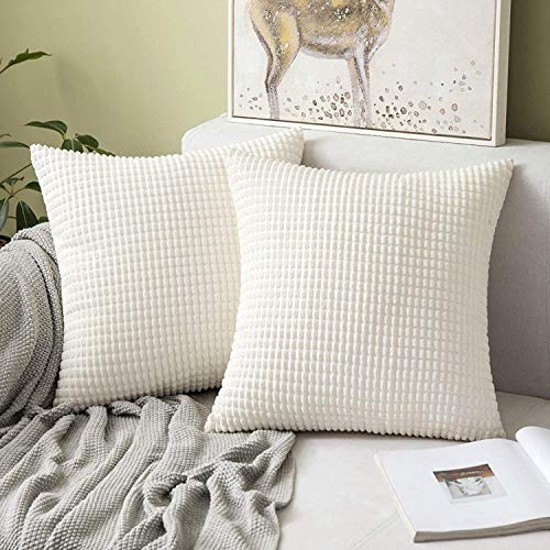 MIULEE Set of 2 Corduroy Soft Big Corn Solid Decorative Square Throw Pillow Covers Cushion Case For Sofa Bedroom 50 x 50 cm 20 x 20 Inch White