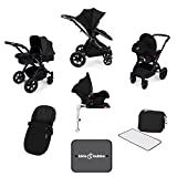 Ickle Bubba Stomp V3 All In One Baby Travel System With Isofix Base| Black on Black Chassis