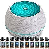 Seamei 1000ML Diffusore di Oli Essenziali, Diffusore di Aromi con Luci Notturne 7 Colori, 3 Timer, Auto Spegnimento Senza Acqua per Casa Yoga Ufficio Camera