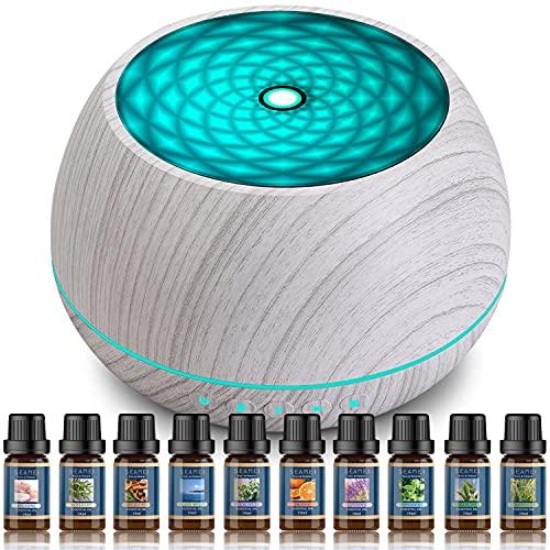 Seamei Difusor de Aceite Esencial, Difusores de 1000 ml, Humidificador Difusor de Aromaterapia Ultrasónico con 7 Luces LED Que Cambian de Color, Temporizador 3 Horas y Apagado Automático sin Agua