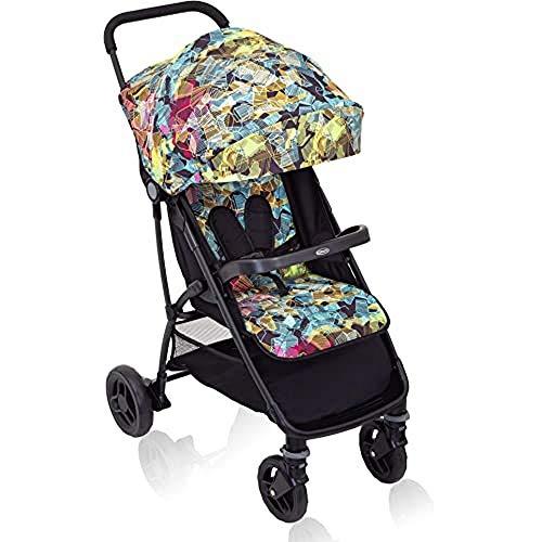 Graco Breaze Lite Buggy, leichter Buggy mit verstellbarer Rückenlehne und Liegeposition, , klein zusammenklappbar, Baby Buggy, Reisebuggy, inkl. Regenverdeck, ab Geburt bis 15 kg, bunt, Kaleidoscope