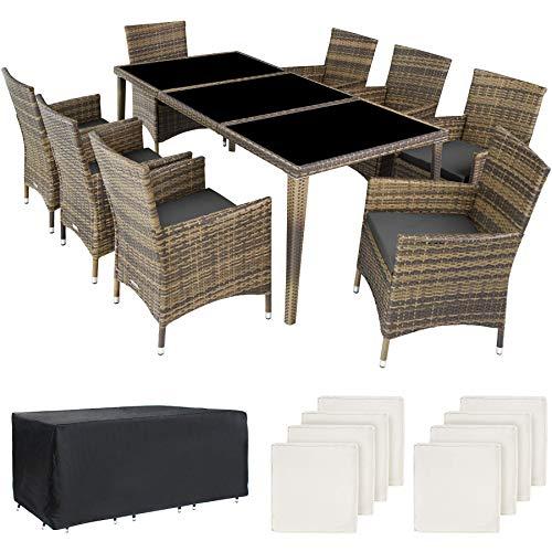 TecTake 800104 Aluminium Poly Rattan Essgruppe, 8 Stühle + 1 Esstisch mit Glasplatten, inkl. 2 Bezugssets und Schutzhülle - Diverse Farben (Natur | Nr. 403753)
