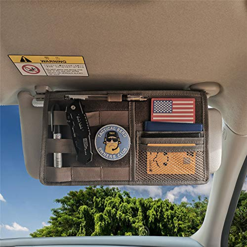 "MDSTOP Molle Visor Panel Organizer Tactical Webbing Compatible Vehicle Sun Visor Cover Car Sunshade Storage Holder Pouch Fits for Cars, Trucks, Suvs, Pickups (Khaki, 7""x12"")"