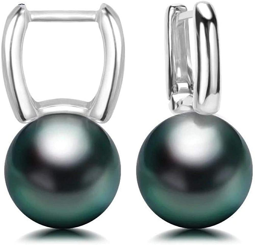 black 8-9mm Tahitian cultured pearl clip-on earrings with 18k solid white gold