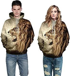 Casual Animal Hoodies 3D Print Lion Sweatshirt Hip Hop Pullover Street Wear