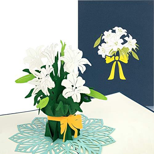 """PaperCrush® Pop-Up Karte Blumen """"Weiße Lilien"""" - Handgemachte 3D Blumenkarte für diverse Anlässe (Runder Geburtstag, Hochzeit, Gute Besserung) - Geburtstagskarte mit Blumenstrauß für Freundin, Frau"""