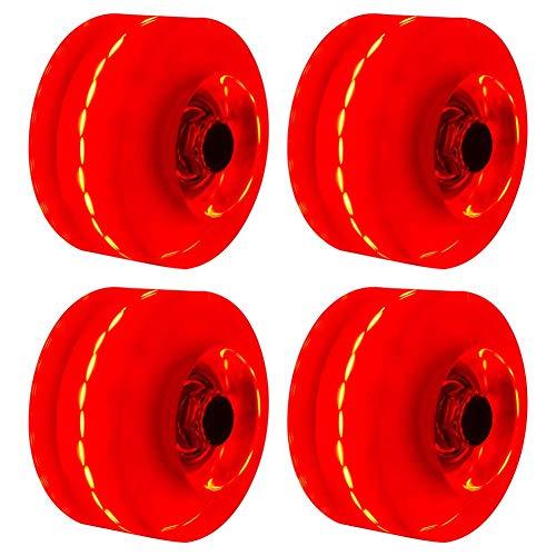 Luminoso Ruedas de Skate, 4PCs / Juego Ligeras Skate Rodillo Quad Skate/Skate Ruedas Para Doble Fila Patinaje Y Skate - Rojo